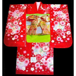 七五三 着物 7歳正絹着物フルセット 七歳着物  753  正絹20点フルセット  桜柄赤|kidskimonoyuuka