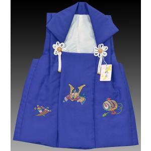 七五三着物  男児 3歳 753 男子被布コート単品刺繍柄 兜1紺 kidskimonoyuuka
