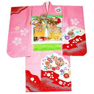 七五三 着物  7歳着物 753 七歳着物女の子 正絹 フルセット 手描き友禅染め まりに花柄 ピンク 日本製|kidskimonoyuuka