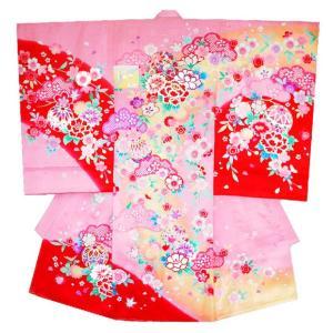 お宮参り着物 初着 女児の正絹産着 マリに牡丹柄ピンク刺繍入り フードセット付|kidskimonoyuuka