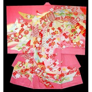 お宮参り着物 初着 産着 女児の正絹産着 束ね熨斗柄ピンク フードセット付|kidskimonoyuuka