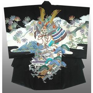 お宮参り 着物 正絹産着 男子初着  男児 兜に富士山柄 黒刺繍入り 日本製 正絹フードセット付|kidskimonoyuuka