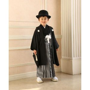 七五三 5歳着物 男子 おりびと 5歳羽織 袴のフルセット 紋付 黒|kidskimonoyuuka