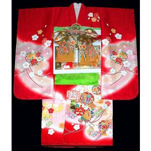 七五三着物 7歳着物 753 女の子 正絹 七歳フルセット 手描き友禅染めマリに花束 柄赤 日本製|kidskimonoyuuka