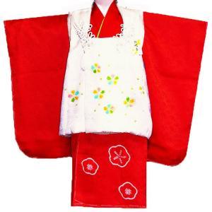 七五三着物 3歳着物 753 被布セット 正絹手絞り、手描き柄赤x白日本製|kidskimonoyuuka