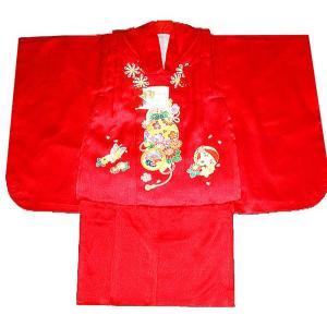 七五三着物 3歳着物 753 被布セット 正絹手描き柄赤日本製|kidskimonoyuuka