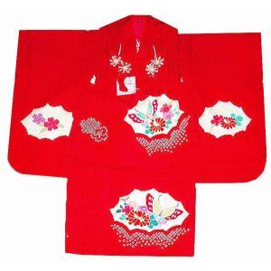 七五三 着物 3歳着物  753  被布セット  正絹 手描と手絞り 蝶の日本製|kidskimonoyuuka