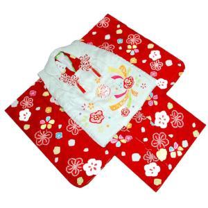 七五三着物 3歳 正絹着物 753 被布セット 手絞り&手描梅にマリ柄赤日本製|kidskimonoyuuka