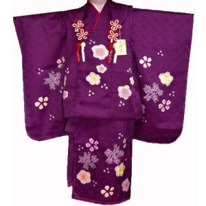 七五三着物 3歳 正絹  753 被布セット 手絞り&手描染 梅花柄 紫日本製|kidskimonoyuuka