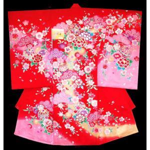 お宮参り 着物 正絹産着 女子初着 女児マリに牡丹柄赤刺繍入り 正絹フードセット付 kidskimonoyuuka