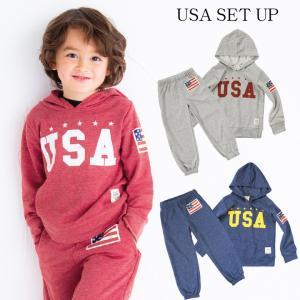 韓国子供服 SHISKY USAプリント スウェット セットアップ|kidsmio