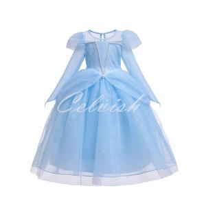 シンデレラ 風 プリンセスドレス コスプレ 子供ドレス  ブルー ドレス 衣装 仮装 USJ C-19580333BU|kigurumishop