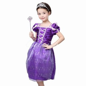 ディズニー ◇ コスプレ ドレス ラプンツェル 風 プリンセスドレス 子供 ドレス 衣装 (ティアラ、魔法棒付き)  C-28546006S kigurumishop