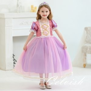 ラプンツェル パープル プリンセスドレス コスプレ ドレス 子供 ドレス 衣装 仮装 C-2854K...