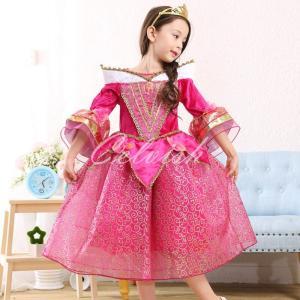 ディズニー ◇ コスプレ ドレス オーロラ風 プリンセスドレス 子供 ドレス 衣装 USJ  C-2858AL22|kigurumishop