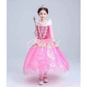 ディズニー ◇ コスプレ ドレス オーロラ 風 プリンセスドレス 子供 ドレス 衣装 USJ  C-2858CK03|kigurumishop
