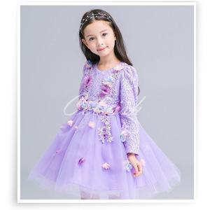 ディズニー ◇ コスプレ ドレス お花の飾りのついたプリンセスドレス 発表会 子供 ドレス  USJ C-2858L1808 kigurumishop