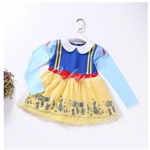 白雪姫 風 長袖 プリンセスドレス コスプレ ドレス 子供 ドレス 衣装 仮装 C-2958L891|kigurumishop