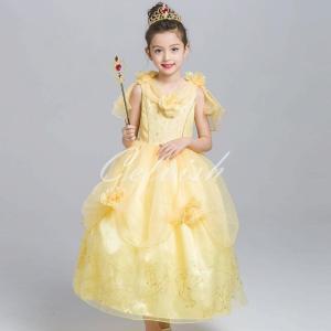 40894fcd5a9da ディズニー ◇ コスプレ ドレス ベル 風 子供 ドレス プリンセスドレス(イエロー、アームカバー付き