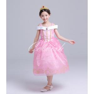 ディズニー ◇ コスプレ ドレス オーロラ 風 プリンセスドレス 子供 ドレス 衣装 USJ  C-2958S391|kigurumishop