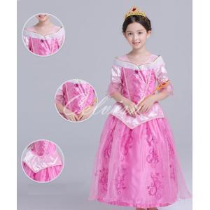 ディズニー ◇ コスプレ ドレス オーロラ 風 プリンセスドレス 子供 ドレス 衣装 USJ  C-2958S548|kigurumishop