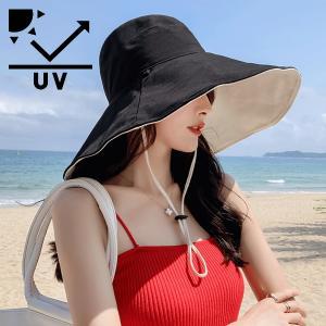 リバーシブル 帽子 UVカット 折りたたみ UVハット レディース つば広 大きい 紫外線カット あご紐着脱可能 送料無料 ポイント消化|kigurumishop
