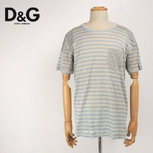 ディーアンドジー D&G 半袖 Tシャツ メンズ ボーダー切替 リネン 薄手|kiiroya-import