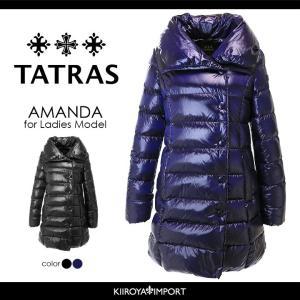 タトラス TATRAS ダウンコート レディース ビッグカラー 袖リブ切替 セミロング ダウンジャケット AMANDA|kiiroya-import