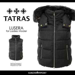 タトラス TATRAS ダウンベスト レディース 3wayラクーンファーフード付き ウール LUSERA|kiiroya-import