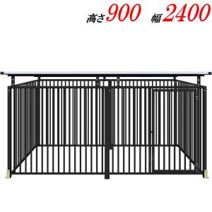 犬のサークル 9−6SYグレー 屋根付 スチール製 室内屋外兼用 犬 サークル ゲージ ケージ 小屋 ハウス いぬ イヌ 大型 中型 |kiitos-shop
