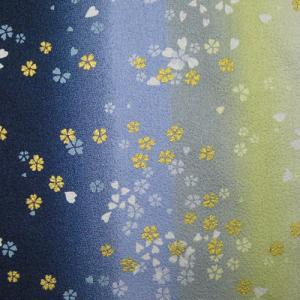 綿ちりめん(エンボス)和柄布 着物風グラデーション小桜舞 紺系