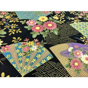 和柄生地 和風花柄着物風 雅な金扇 (黒) 1600-91A 生地 手芸 綿 布