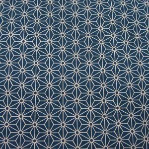 和柄生地・シンプル麻の葉柄(青(藍))/生地・和柄・和調・手芸・綿・布・和布