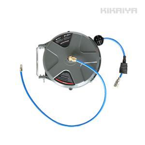 エアーホースリール 8.8メートル 自動巻き取り式 ブラケット付 天吊り/壁掛け対応 φ6.5×10mm KIKAIYA|kikaiya-work-shop