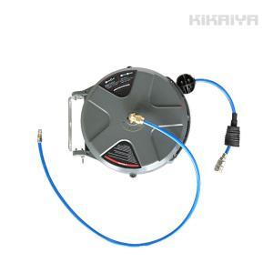 エアーホースリール 14.5メートル 自動巻き取り式 ブラケット付 天吊り/壁掛け対応 φ6.5×10mm KIKAIYA|kikaiya-work-shop