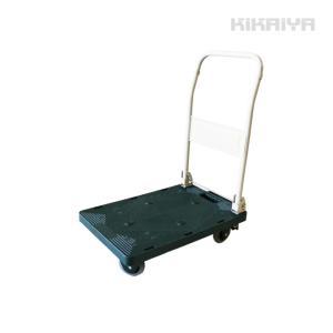 軽量樹脂省音台車 100kg ブレーキ付 595x395mm 折りたたみ台車 プラ台車 運搬車 KIKAIYA|kikaiya-work-shop