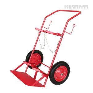 ・手軽に使える2輪タイプのボンベ台車です  ・ボンベが固定できるよう受けは台形になっており、 運搬時...