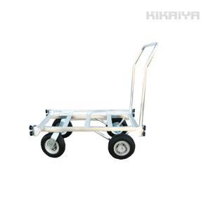 アルミハウスカー コンテナ2個積用 収穫台車 アルミ運搬車 自在車輪 ノーパンクタイヤ KIKAIYA|kikaiya-work-shop
