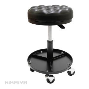 作業椅子 メカニックシート ガスダンパー調節式 工具トレイ付き 昇降式シートクリーパー 移動いす キャスター付 整備 ガス圧式 極厚 「すご楽」KIKAIYA kikaiya-work-shop