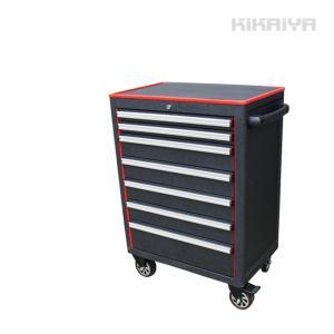 ローラーキャビネット7段 リンクル塗装 ブラック×レッド ツートン 艶なし 工具箱 ツールキャビネット(個人様は営業所止め) KIKAIYA|kikaiya-work-shop