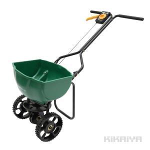 肥料散布機 手押し式 容量15L 散布器 ロータリー式 スプレッダー ブロードキャスター キャスター付 コンパクト 小型 軽量 大型タイヤ(個人様宛は別途送料)|kikaiya-work-shop