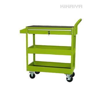 ツールカートDX 引出し付 ライトグリーン スプレー缶ドライバー兼用ホルダー付 ツールワゴン スチールワゴン KIKAIYA(個人様は営業所止め) kikaiya-work-shop