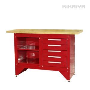 作業台 5段 レッド 引き出し付 ウッド天板 ワークベンチ 耐荷重250kg W1370xD510xH890mm(個人様は営業所止め) KIKAIYA|kikaiya-work-shop