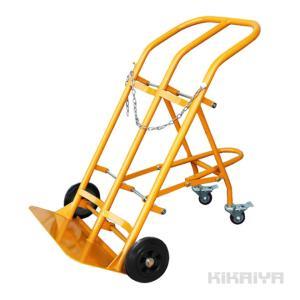 KIKAIYA 4輪ボンベ台車(2本積用) ブレーキ付き 安定感抜群 ボンベカート 運搬車【個人宅配達不可・商品代引不可】|kikaiya