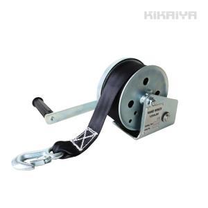 KIKAIYA ハンドウインチ オートブレーキ付 ナイロンベルト8m 手動ウインチ 回転式ミニウインチ 6ヶ月保証|kikaiya