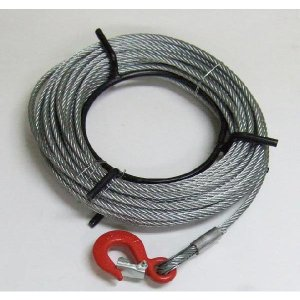 KIKAIYA ワイヤーロープ20m巻 フック付 ハンドウインチ 万能携帯ウインチ800kg用|kikaiya