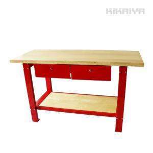 中量作業台(引き出し付) ワークベンチ ウッド天板タイプ 耐荷重700kg W1500xD640xH865mm(法人様のみ配送可)(代引不可) KIKAIYA kikaiya