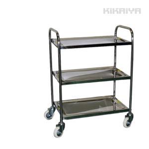 KIKAIYA ステンレス台車 3段 総耐荷重200kg 静音台車 ステンレスワゴン ステンレスカート|kikaiya