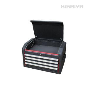 KIKAIYA 新型ツールチェスト4段 リンクル塗装 ブラック×レッド ツートン 艶なし キャビネット 工具箱|kikaiya