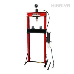 エアー式油圧プレス20トン(エアー手動兼用) メーター付 門型プレス機 6ヶ月保証(法人様のみ配送可) KIKAIYA|kikaiya